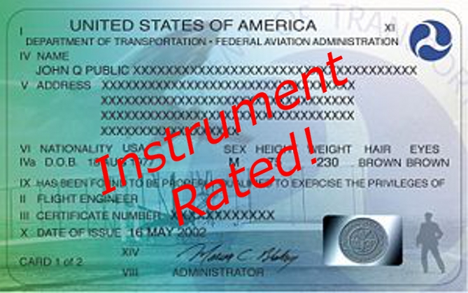 FAA pilot's certificate with an instrument rating.